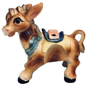 Vtg 1950s Japanese Ceramic Donkey Figurine/Planter